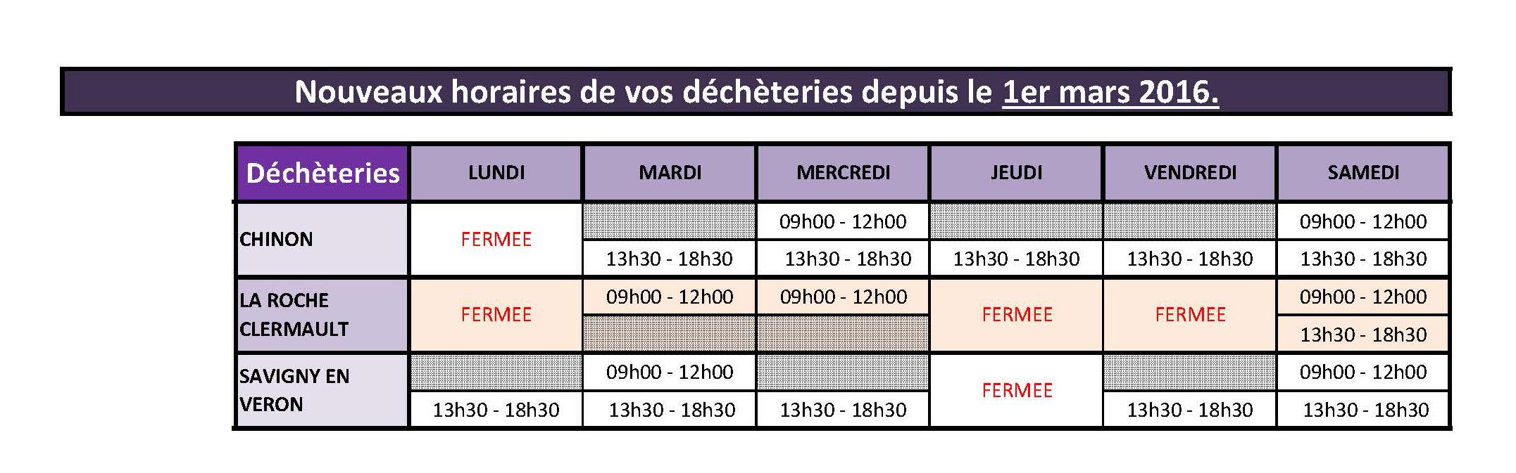 horaires decheteries