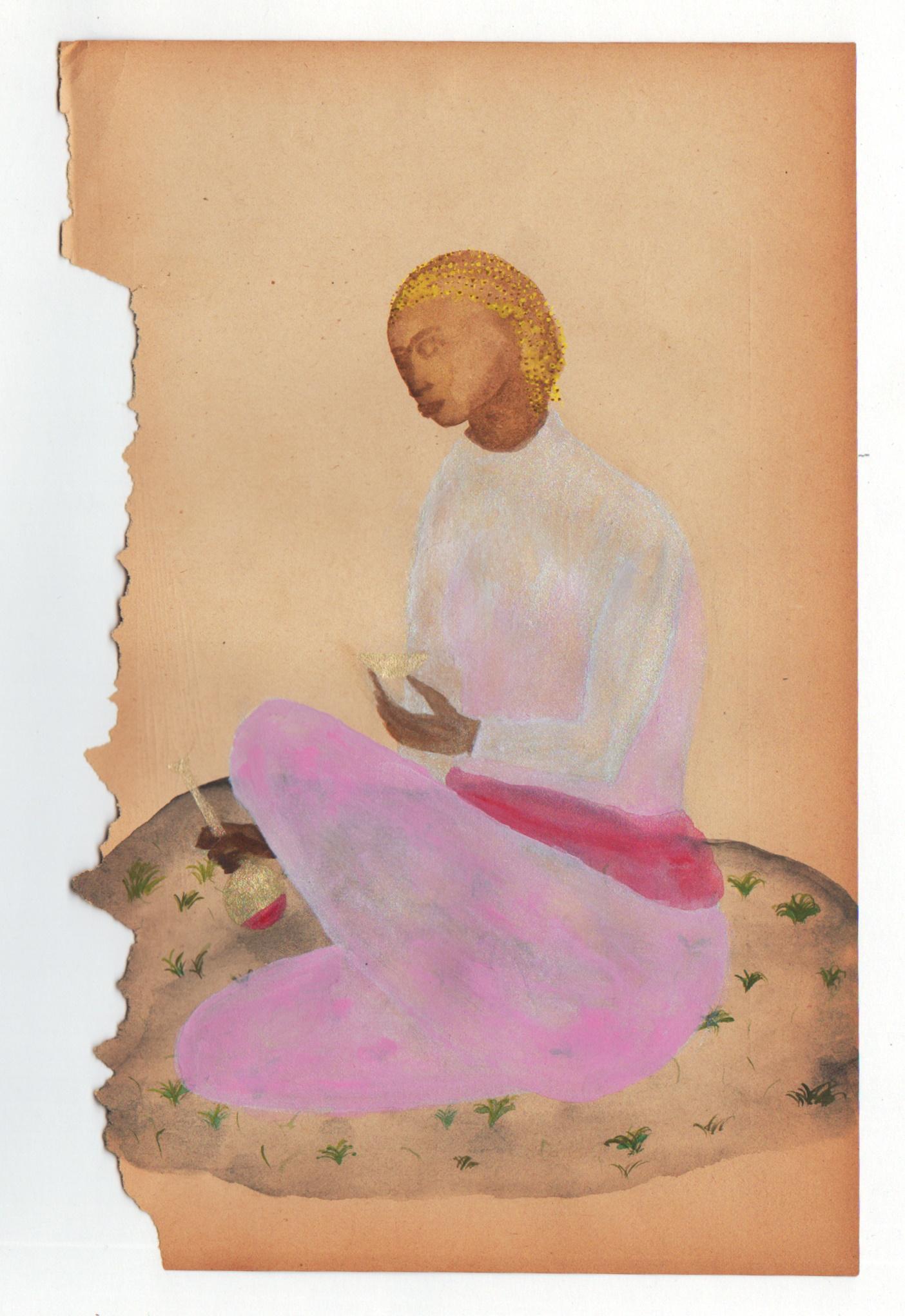 Marie Zolamian A servir, 2013 Gouache sur papier Courtesy Marie Zolamian et la galerie Nadja Vilenne