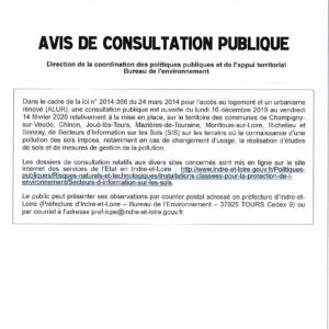Avis de consultation publique sur la pollution des sols