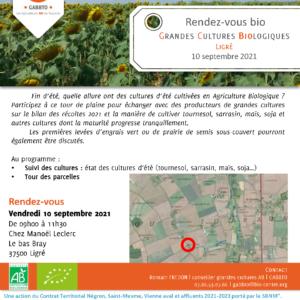 Rendez-vous bio : Grandes Cultures Biologiques à Ligré